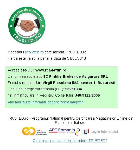 Rca-ieftin.ro este certificat Trusted