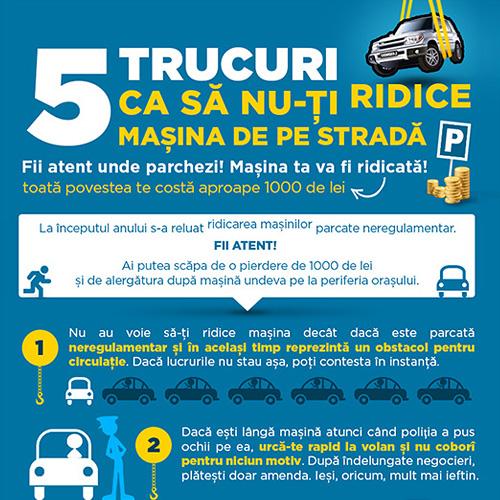 Infografic – 5 trucuri ca sa nu-ti ridice masina de pe strada