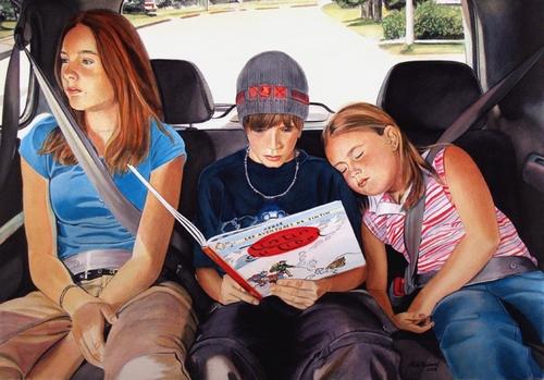 Copiii din masina distrag atentia soferului